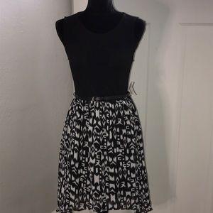 New Black Mesh W/Pattern Hi-Low Dress